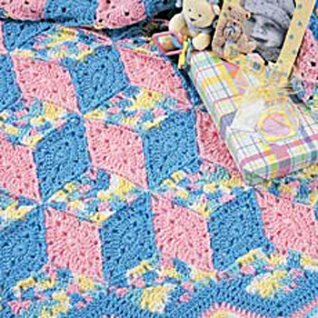 Crochet Patterns Block Afghan : Afghans -- Tumbling Blocks - Crochet on Pinterest ...