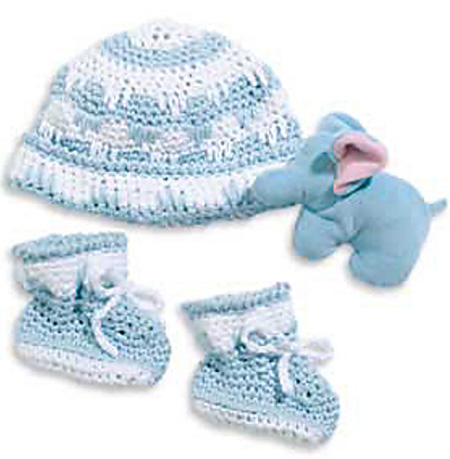 Crochet Pattern For Baby Hat And Booties : Crocheted Baby Hat and Booties Pattern