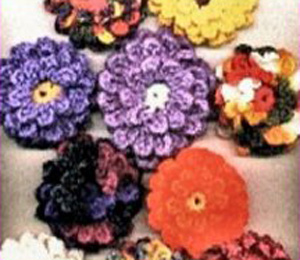 Crochet Zinnia Flower Pattern : Crocheted Zinnias Pattern