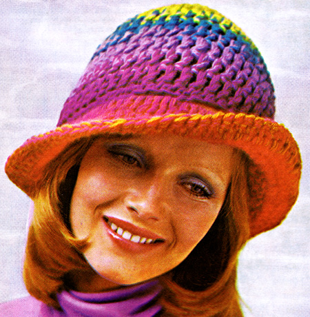 Free Crochet Pattern For Tinkerbell Hat : Crocheted Rainbow Hat Pattern