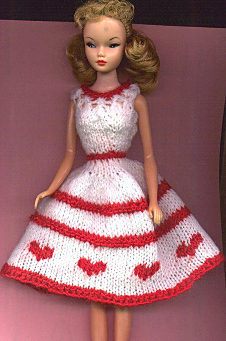Free Barbie Knitting Patterns : Knitted Barbie Valentines Hearts Dress Pattern